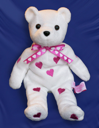 Valentine's Day logo bear. White bear with pink hearts. Custom logo bears for sale.