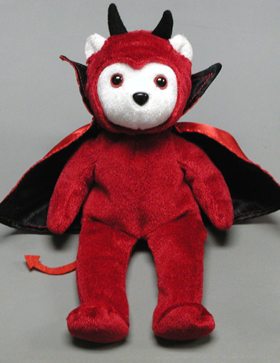 Red Devil Bear. Order custom beanie bears with a Halloween Costume. Custom Halloween Bears for sale.