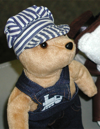 Railroad Engineer Bear. Logo Bears has many custom bears for sale.