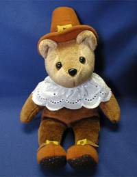 Male Pilgrim Bear. We offer custom logo bears for all occasions. You choose the name and date of birth for each bear.
