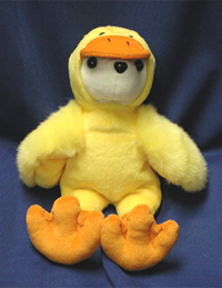 Yellow Duck Bear. Custom white colored logo bear with a duck costume.