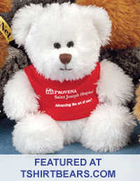 Bears with T-Shirts for corporate giveaways and school fundraising programs. Promotional teddy bears with printed shirts.