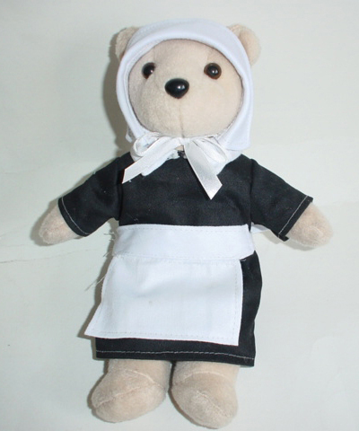 Female Pilgrim Bear. Order custom beanie bears with a Pilgrim Costume. Custom Female Pilgrim Bears for sale.