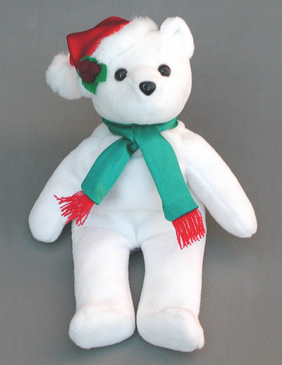 Holly Christmas Bear. Order custom Christmas Bears from LogoBears.com. Custom Santa Claus Bears for Christmas.