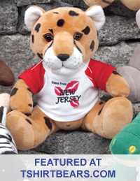 Personalized stuffed animals with T-Shirts. Buy promotional stuffed animals with silk-screened T-Shirts.