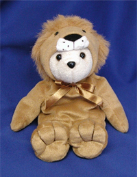 Lion Bear. Beanie bear dressed as a lion. Excellent theme for jungle events.