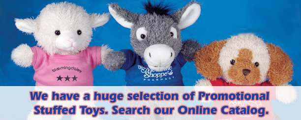 Promotional stuffed animals with printed T-Shirts. Buy dogs, cats, wolves, bears and tigers.